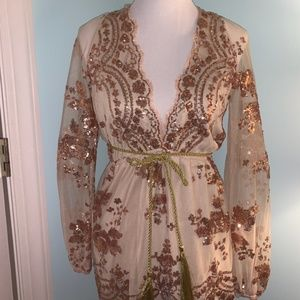 New Size Small Beautiful Champagne Sequined Romper